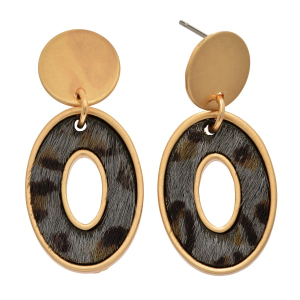 """Genuine Leather Leopard Print Oval Stud Drop Earrings in Gold.  - Approximately 1"""" in Length"""