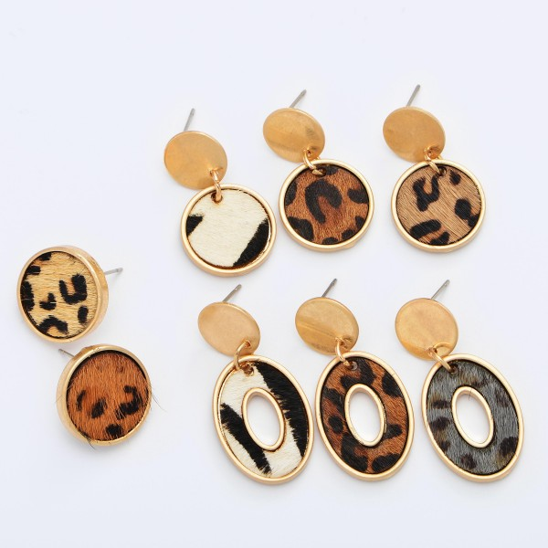 """Genuine Leather Leopard Print Stud Drop Earrings in Gold.  - Approximately .5"""" in Diameter - Approximately 1"""" in Length"""