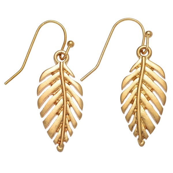 "Palm Leaf Drop Earrings in Gold.  - Approximately 1.25"" in Length"