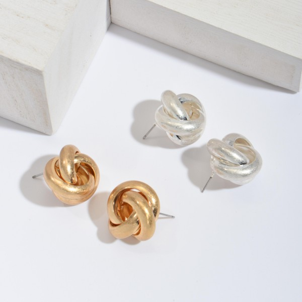 "Metal Statement Knot Stud Earrings.  - Approximately 1"" in Diameter"