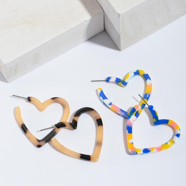 Acrylic Heart Hoop Earrings.  - Approximately 1.5""