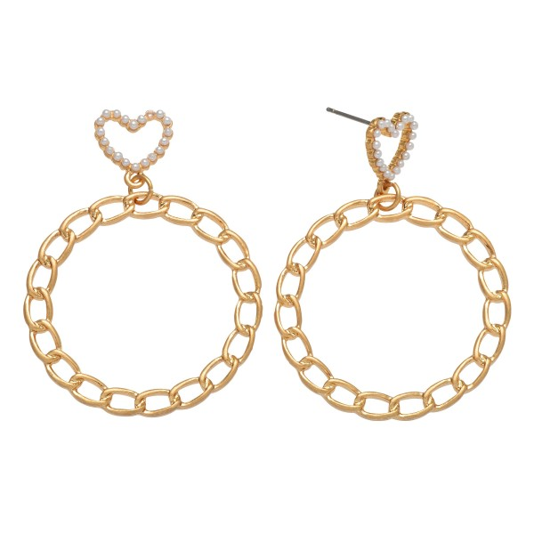 "Pearl Heart Chain Link Drop Earrings in Gold.  - Approximately 2"" L x 1.5"" W"