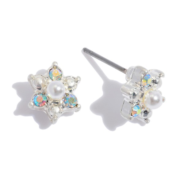 Iridescent Flower Stud Earrings Featuring Pearl Center Accent.  - Approximately 7mm in Diameter