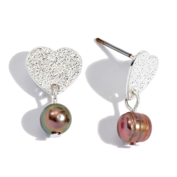 "Dainty Shimmer Heart Pearl Drop Earrings.  - Approximately .75"" in Length"