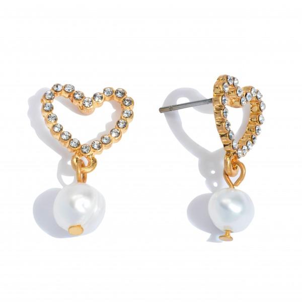 """Short Rhinestone Heart Pearl Drop Earrings.  - Approximately 1"""" in Length"""