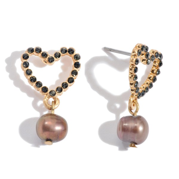 "Short Rhinestone Heart Pearl Drop Earrings.  - Approximately 1"" in Length"