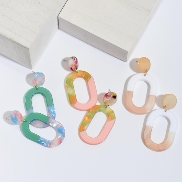 """Acrylic Resin Ring Drop Earrings.  - Approximately 2"""" in Length"""