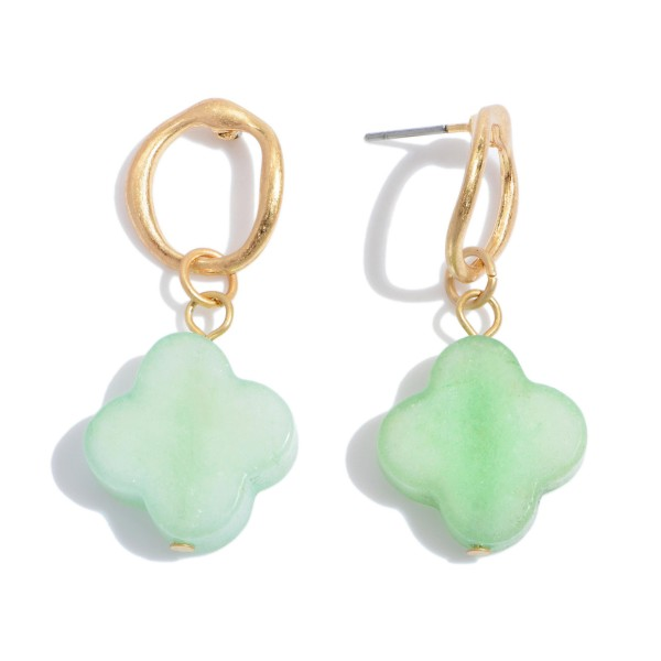 "Semi Precious Clover Drop Earrings in Gold.  - Approximately 1.5"" in Length"