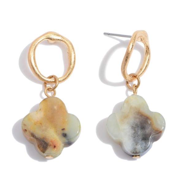 """Semi Precious Clover Drop Earrings in Gold.  - Approximately 1.5"""" in Length"""