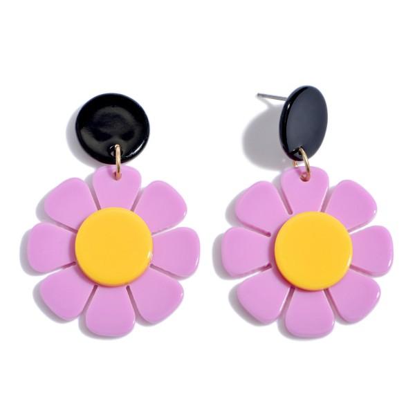 "Acrylic Resin Flower Drop Earrings.  - Approximately 2"" in Length"