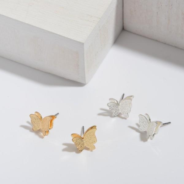 Shimmer Butterfly Stud Earrings.  - Approximately 8mm in Size