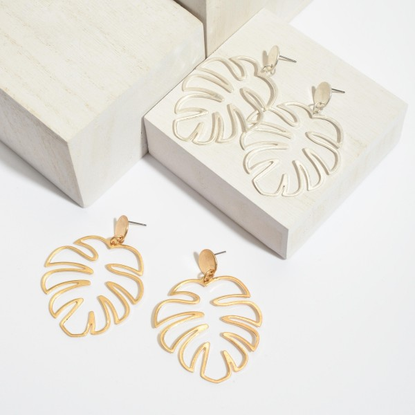 "Metal Palm Leaf Drop Earrings.  - Approximately 2.5"" in Length"