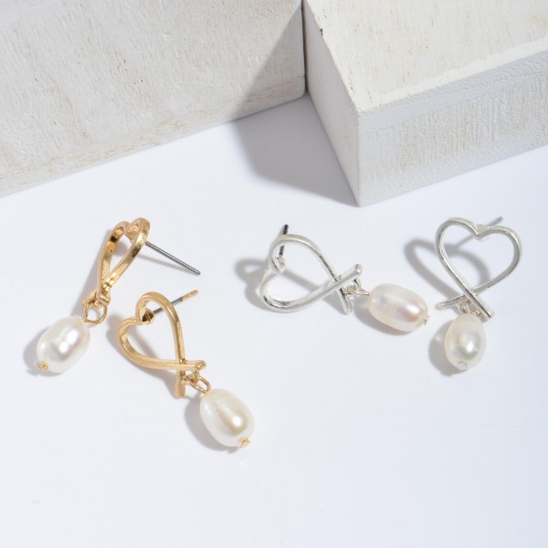 "Heart Pearl Drop Earrings.  - Approximately 1"" in Length"