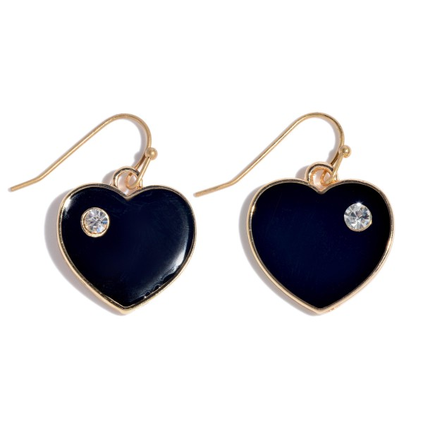 "Epoxy Coated Heart Drop Earrings Featuring a Rhinestone Accent.  - Approximately 1"" in Length"