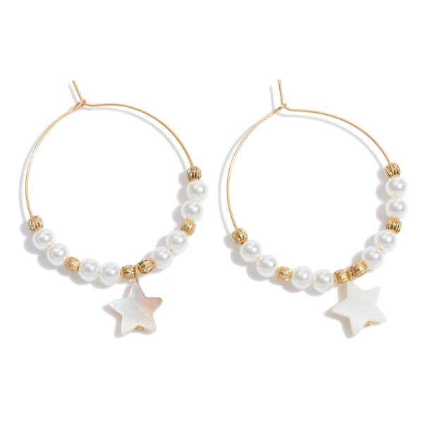"""Ivory Pearl Beaded Wire Hoop Earrings Featuring a Mother of Pearl Star Accent.  - Approximately 2"""" x 2.5"""""""