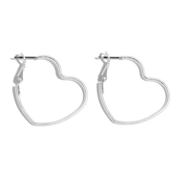 """Short Metal Heart Hoop Earrings in a Worn Finish.  - Approximately 1.25"""""""