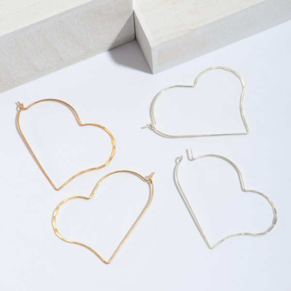 Metal Wire Heart Hoop Earrings.  - Approximately 2' in Length
