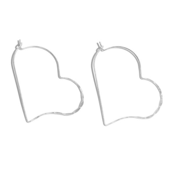 Metal Wire Heart Hoop Earrings.  - Approximately 2' in Length