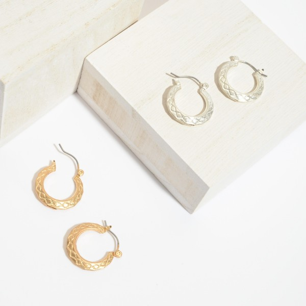 Short Textured Hoop Earrings.  - Approximately .75' in Diameter