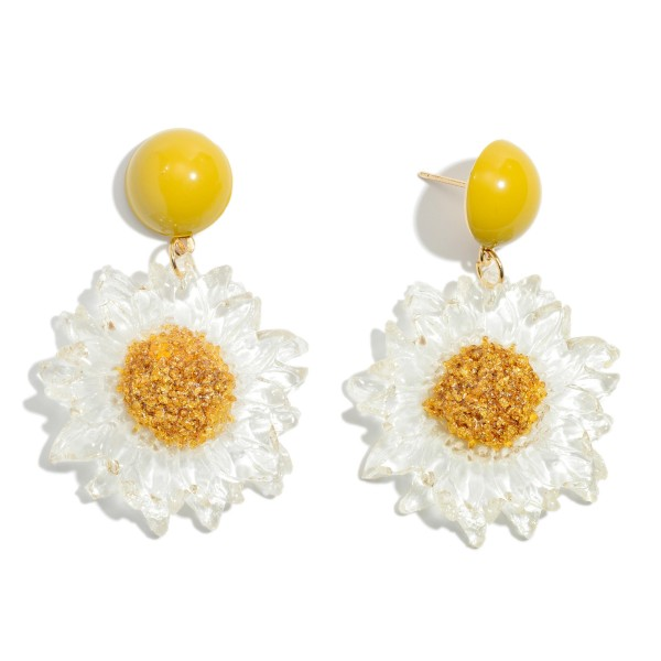 "Clear Acrylic Sunflower Drop Earrings.  - Approximately 2"" in Length"