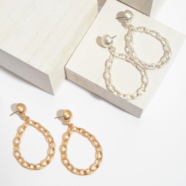 """Chain Link Teardrop Earrings.  - Approximately 2.5"""" in Length"""