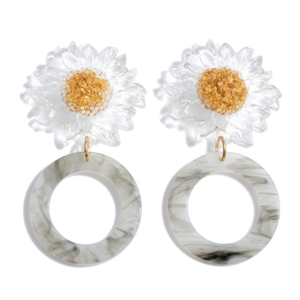 """Acrylic Sunflower Ring Statement Drop Earrings.  - Approximately 3"""" in Length"""