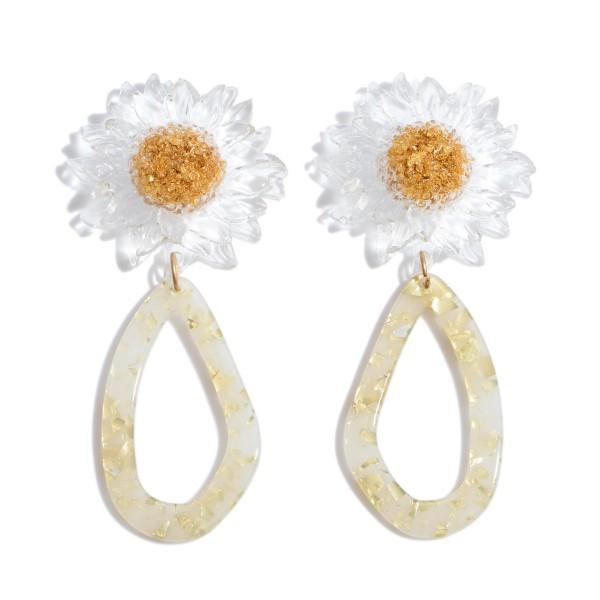 "Acrylic Sunflower Teardrop Statement Earrings.  - Approximately 3"" in Length"