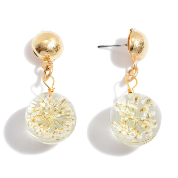"Glass Flower Drop Earrings in Gold.  - Approximately 1.5"" in Length"