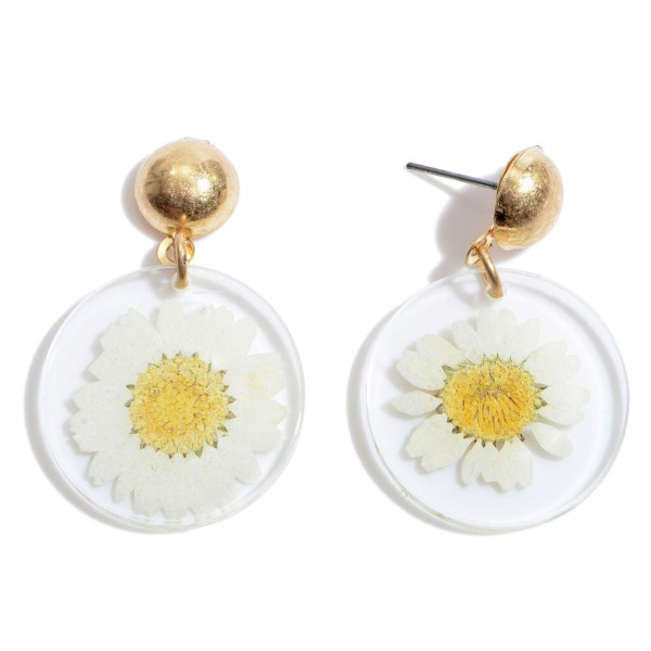"""Acrylic Sunflower Drop Earrings in Gold.  - Approximately 1.25"""" in Length"""