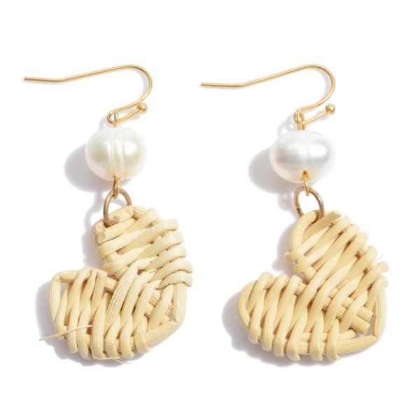 """Ivory Pearl Raffia Heart Drop Earrings.  - Approximately 1.75"""" in Length"""