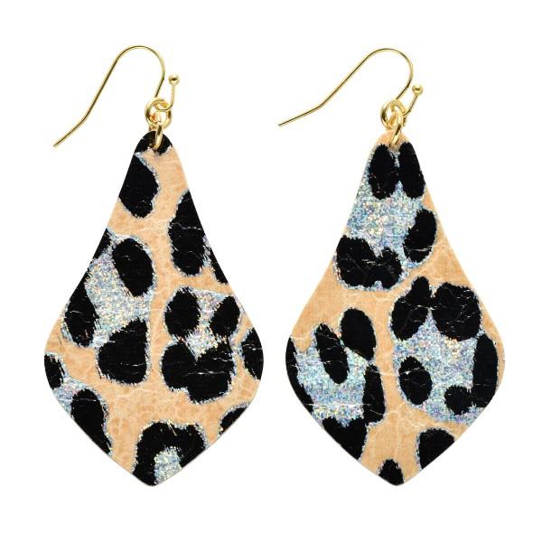 """Metallic Leopard Print Moroccan Teardrop Earrings.  - Approximately 2.5"""" in Length"""