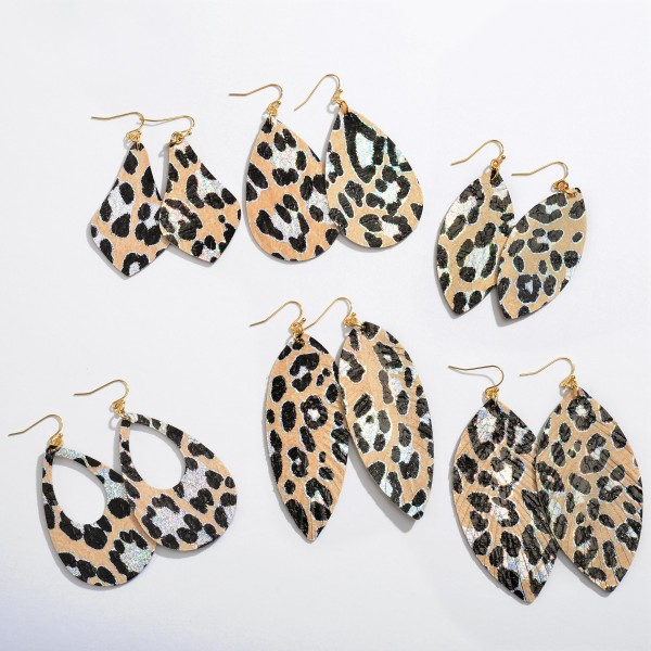 """Pointed Oval Metallic Leopard Print Drop Earrings.  - Approximately 3"""" in Length"""