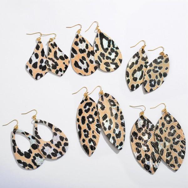 """Metallic Leopard Print Cut Teardrop Earrings.  - Approximately 2.75"""" in Length"""