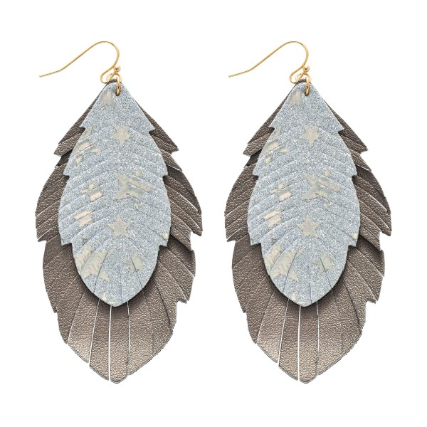 "Star Glitter Feather Drop Earrings.  - Approximately 3.5"" in Length"