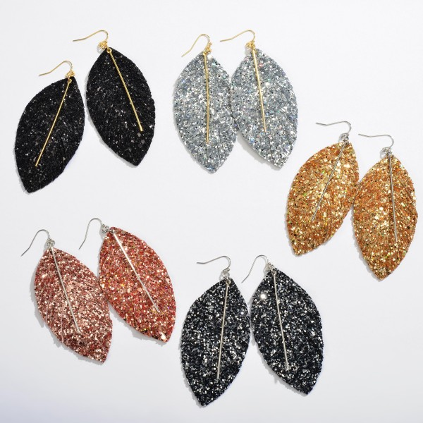 "Glitter Feather Drop Earrings Featuring a Metal Bar Center Accent.  - Approximately 3.5"" in Length"