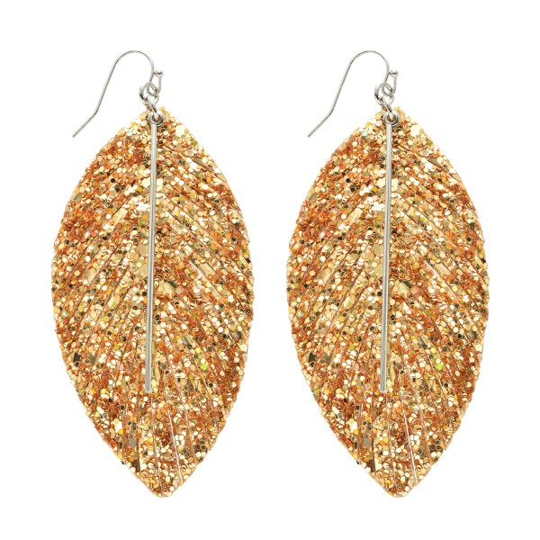 """Glitter Feather Drop Earrings Featuring a Metal Bar Center Accent.  - Approximately 3.5"""" in Length"""
