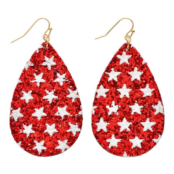 """Glitter Star Teardrop Earrings.  - Approximately 3"""" in Length"""