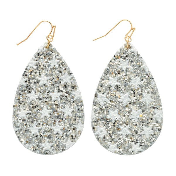 "Glitter Star Teardrop Earrings.  - Approximately 3"" in Length"