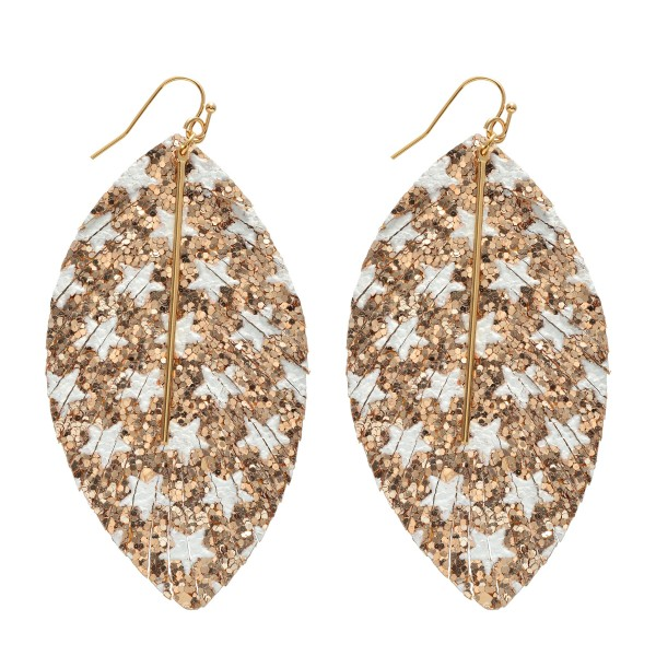 """Glitter Star Feather Drop Earrings Featuring a Metal Bar Center Accent.  - Approximately 3.5"""" in Length"""