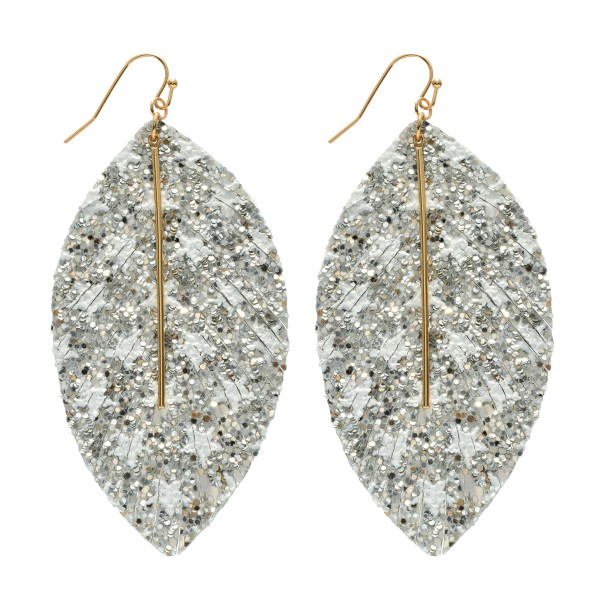 "Glitter Star Feather Drop Earrings Featuring a Metal Bar Center Accent.  - Approximately 3.5"" in Length"