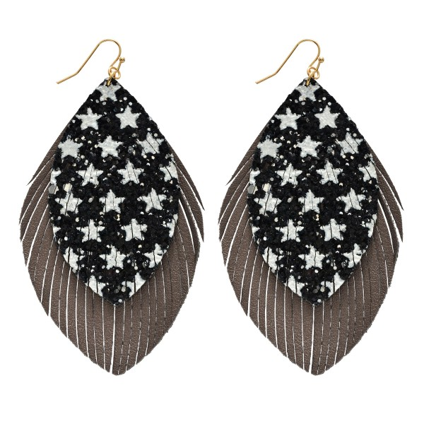 "Star Glitter Feather Statement Drop Earrings.  - Approximately 4"" in Length"