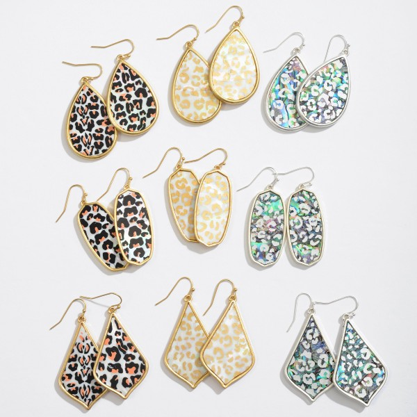 """Abalone Leopard Print Iridescent Teardrop Earrings.  - Approximately 2"""" in Length"""
