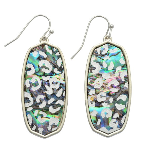 """Abalone Leopard Print Iridescent Drop Earrings.  - Approximately 2"""" in Length"""