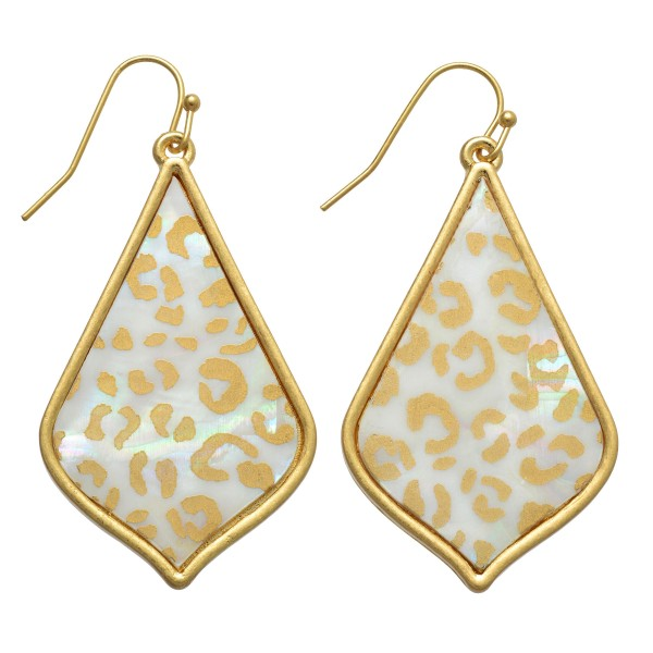 """Abalone Leopard Print Iridescent Moroccan Teardrop Earrings.  - Approximately 2"""" in Length"""