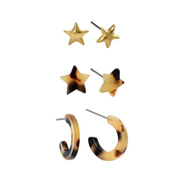 Wholesale pC Acrylic Star Tortoise Shell Stud Hoop Earring Set Pair Per Set Stu