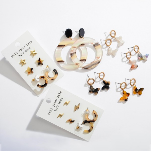 "3 PC Acrylic Star Tortoise Shell Stud Hoop Earring Set.  - 3 Pair Per Set - 2 Stud Sets 1 Hoop Set - Approximately 6mm - .5"" in Sizes"