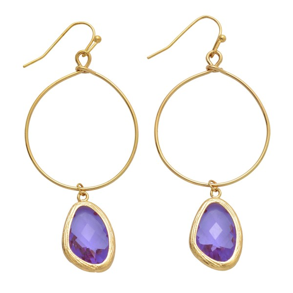 """Crystal Drop Earrings in Gold.  - Approximately 2.5"""" in Length"""