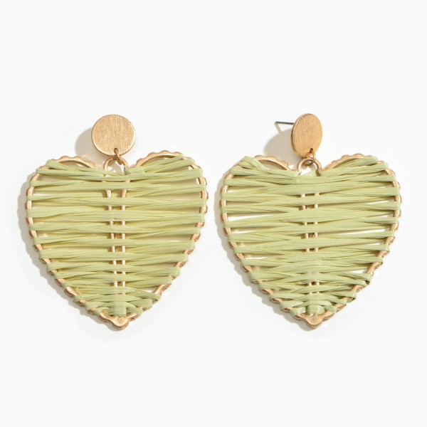 "Raffia Wrapped Metal Heart Statement Drop Earrings.  - Approximately 2.5"" L x 2"" W"