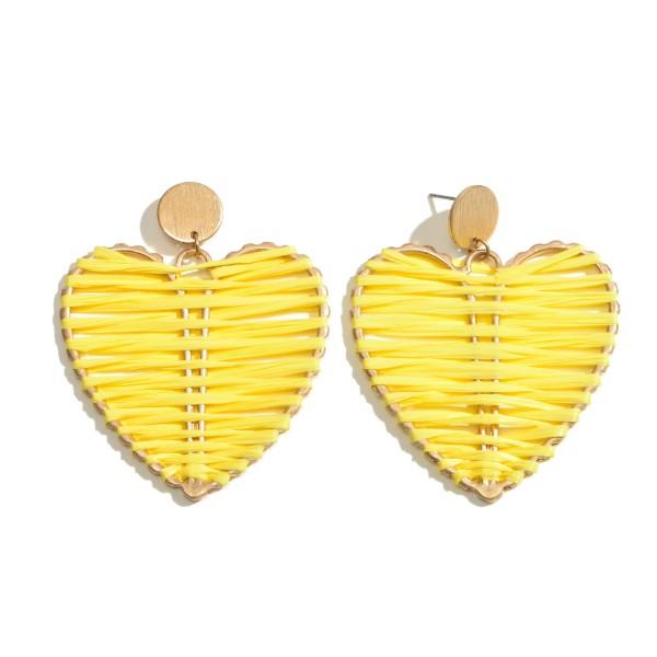 """Raffia Wrapped Metal Heart Statement Drop Earrings.  - Approximately 2.5"""" L x 2"""" W"""