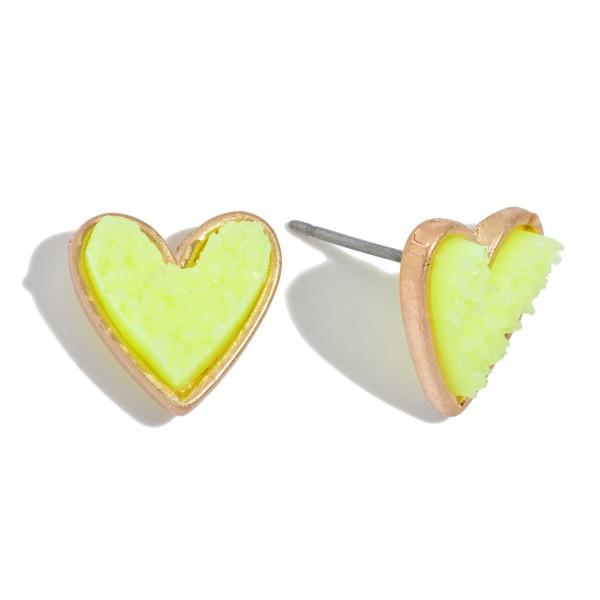 Wholesale druzy Heart Stud Earrings Gold
